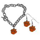 Siskiyou Buckle Clemson Tigers Chain Bracelet and Dangle Earring Set, CDEN69CBR