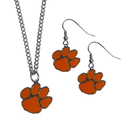 Siskiyou Buckle Clemson Tigers Dangle Earrings and Chain Necklace Set, CDEN69CN