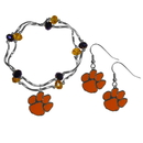 Siskiyou Buckle Clemson Tigers Dangle Earrings and Crystal Bead Bracelet Set, CDEN69CYB