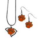 Siskiyou Buckle Clemson Tigers Dangle Earrings and State Necklace Set, CDEN69SN
