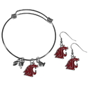 Siskiyou Buckle Washington St. Cougars Dangle Earrings and Charm Bangle Bracelet Set, CDEN71CBB