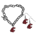 Siskiyou Buckle Washington St. Cougars Chain Bracelet and Dangle Earring Set, CDEN71CBR