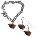 Siskiyou Buckle Oregon St. Beavers Chain Bracelet and Dangle Earring Set, CDEN72CBR