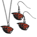 Siskiyou Buckle Oregon St. Beavers Dangle Earrings and Chain Necklace Set, CDEN72CN