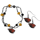 Siskiyou Buckle Oregon St. Beavers Dangle Earrings and Crystal Bead Bracelet Set, CDEN72CYB