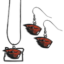 Siskiyou Buckle Oregon St. Beavers Dangle Earrings and State Necklace Set, CDEN72SN