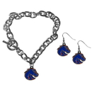 Siskiyou Buckle Boise St. Broncos Chain Bracelet and Dangle Earring Set, CDEN73CBR