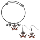 Siskiyou Buckle Virginia Cavaliers Dangle Earrings and Charm Bangle Bracelet Set, CDEN78CBB