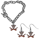 Siskiyou Buckle Virginia Cavaliers Chain Bracelet and Dangle Earring Set, CDEN78CBR