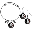 Siskiyou Buckle Florida St. Seminoles Dangle Earrings and Charm Bangle Bracelet Set, CDEN7CBB