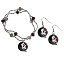 Siskiyou Buckle Florida St. Seminoles Dangle Earrings and Crystal Bead Bracelet Set, CDEN7CYB