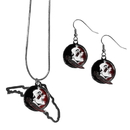 Siskiyou Buckle Florida St. Seminoles Dangle Earrings and State Necklace Set, CDEN7SN