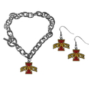 Siskiyou Buckle Iowa St. Cyclones Chain Bracelet and Dangle Earring Set, CDEN83CBR