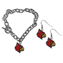 Siskiyou Buckle Louisville Cardinals Chain Bracelet and Dangle Earring Set, CDEN88CBR
