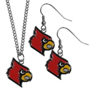 Siskiyou Buckle Louisville Cardinals Dangle Earrings and Chain Necklace Set, CDEN88CN