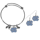 Siskiyou Buckle N. Carolina Tar Heels Dangle Earrings and Charm Bangle Bracelet Set, CDEN9CBB