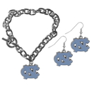 Siskiyou Buckle N. Carolina Tar Heels Chain Bracelet and Dangle Earring Set, CDEN9CBR