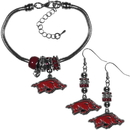 Siskiyou Buckle Arkansas Razorbacks Euro Bead Earrings and Bracelet Set, CEBE12BBR