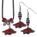 Siskiyou Buckle Arkansas Razorbacks Euro Bead Earrings and Necklace Set, CEBE12BNK