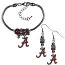 Siskiyou Buckle Alabama Crimson Tide Euro Bead Earrings and Bracelet Set, CEBE13BBR