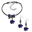 Siskiyou Buckle Kansas St. Wildcats Euro Bead Earrings and Bracelet Set, CEBE15BBR