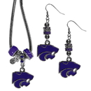 Siskiyou Buckle Kansas St. Wildcats Euro Bead Earrings and Necklace Set, CEBE15BNK