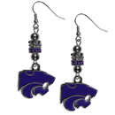 Siskiyou Buckle Kansas St. Wildcats Euro Bead Earrings, CEBE15
