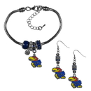 Siskiyou Buckle Kansas Jayhawks Euro Bead Earrings and Bracelet Set, CEBE21BBR