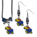 Siskiyou Buckle Kansas Jayhawks Euro Bead Earrings and Necklace Set, CEBE21BNK
