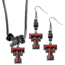 Siskiyou Buckle Texas Tech Raiders Euro Bead Earrings and Necklace Set, CEBE30BNK