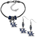 Siskiyou Buckle Kentucky Wildcats Euro Bead Earrings and Bracelet Set, CEBE35BBR