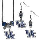 Siskiyou Buckle Kentucky Wildcats Euro Bead Earrings and Necklace Set, CEBE35BNK