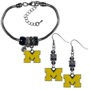 Siskiyou Buckle Michigan Wolverines Euro Bead Earrings and Bracelet Set, CEBE36BBR