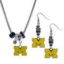 Siskiyou Buckle Michigan Wolverines Euro Bead Earrings and Necklace Set, CEBE36BNK