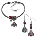 Siskiyou Buckle Ohio St. Buckeyes Euro Bead Earrings and Bracelet Set, CEBE38BBR