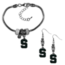 Siskiyou Buckle Michigan St. Spartans Euro Bead Earrings and Bracelet Set, CEBE41BBR