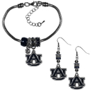 Siskiyou Buckle Auburn Tigers Euro Bead Earrings and Bracelet Set, CEBE42BBR
