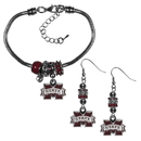 Siskiyou Buckle Mississippi St. Bulldogs Euro Bead Earrings and Bracelet Set, CEBE45BBR