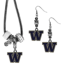 Siskiyou Buckle Washington Huskies Euro Bead Earrings and Necklace Set, CEBE49BNK