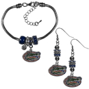 Siskiyou Buckle Florida Gators Euro Bead Earrings and Bracelet Set, CEBE4BBR