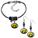 Siskiyou Buckle Iowa Hawkeyes Euro Bead Earrings and Bracelet Set, CEBE52BBR