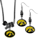 Siskiyou Buckle Iowa Hawkeyes Euro Bead Earrings and Necklace Set, CEBE52BNK