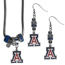 Siskiyou Buckle Arizona Wildcats Euro Bead Earrings and Necklace Set, CEBE54BNK