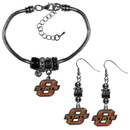 Siskiyou Buckle Oklahoma St. Cowboys Euro Bead Earrings and Bracelet Set, CEBE58BBR