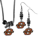 Siskiyou Buckle Oklahoma St. Cowboys Euro Bead Earrings and Necklace Set, CEBE58BNK