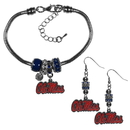 Siskiyou Buckle Mississippi Rebels Euro Bead Earrings and Bracelet Set, CEBE59BBR