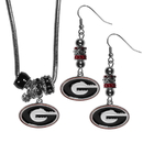 Siskiyou Buckle Georgia Bulldogs Euro Bead Earrings and Necklace Set, CEBE5BNK