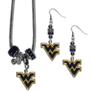 Siskiyou Buckle W. Virginia Mountaineers Euro Bead Earrings and Necklace Set, CEBE60BNK