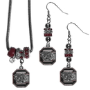 Siskiyou Buckle S. Carolina Gamecocks Euro Bead Earrings and Necklace Set, CEBE63BNK