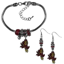 Siskiyou Buckle Arizona St. Sun Devils Euro Bead Earrings and Bracelet Set, CEBE68BBR